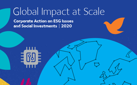 """Titelseite des Reports """"Global Impact at Scale: Corporate Action on ESG Issues and Social Investments 2020"""". Infografik: CECP"""