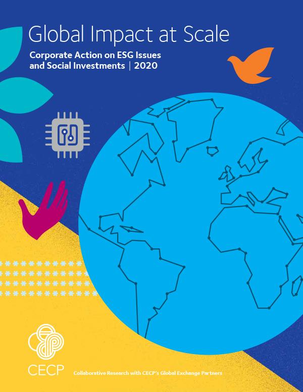 """Titelseite des Reports """"Global Impact at Scale: Corporate Action on ESG Issues and Social Investments 2020"""". Die Studie untersucht, wie Unternehmen Nachhaltigkeit in ihre Strategien integrieren. Infografik: CECP"""