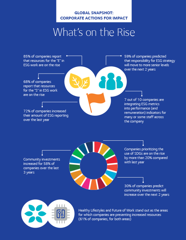 """Infografik """"What's on the rise"""" aus dem Report """"Global Impact at Scale: Corporate Action on ESG Issues and Social Investments 2020"""". Infografik: CECP"""