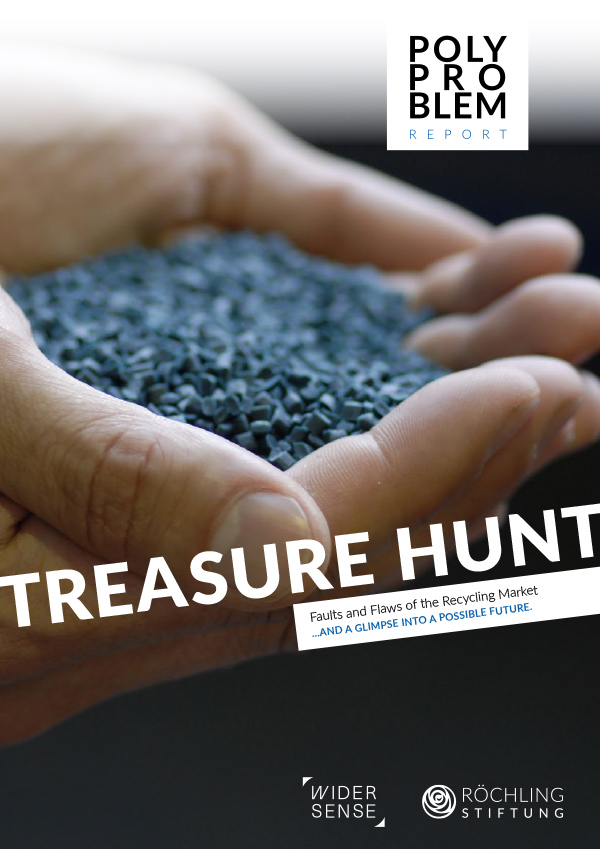 """Cover of the 2nd Polyproblem Report """"Treasure Hunt. Faults and Flaws of the Recycling Market …and a Glimpse into a Possible Future."""""""